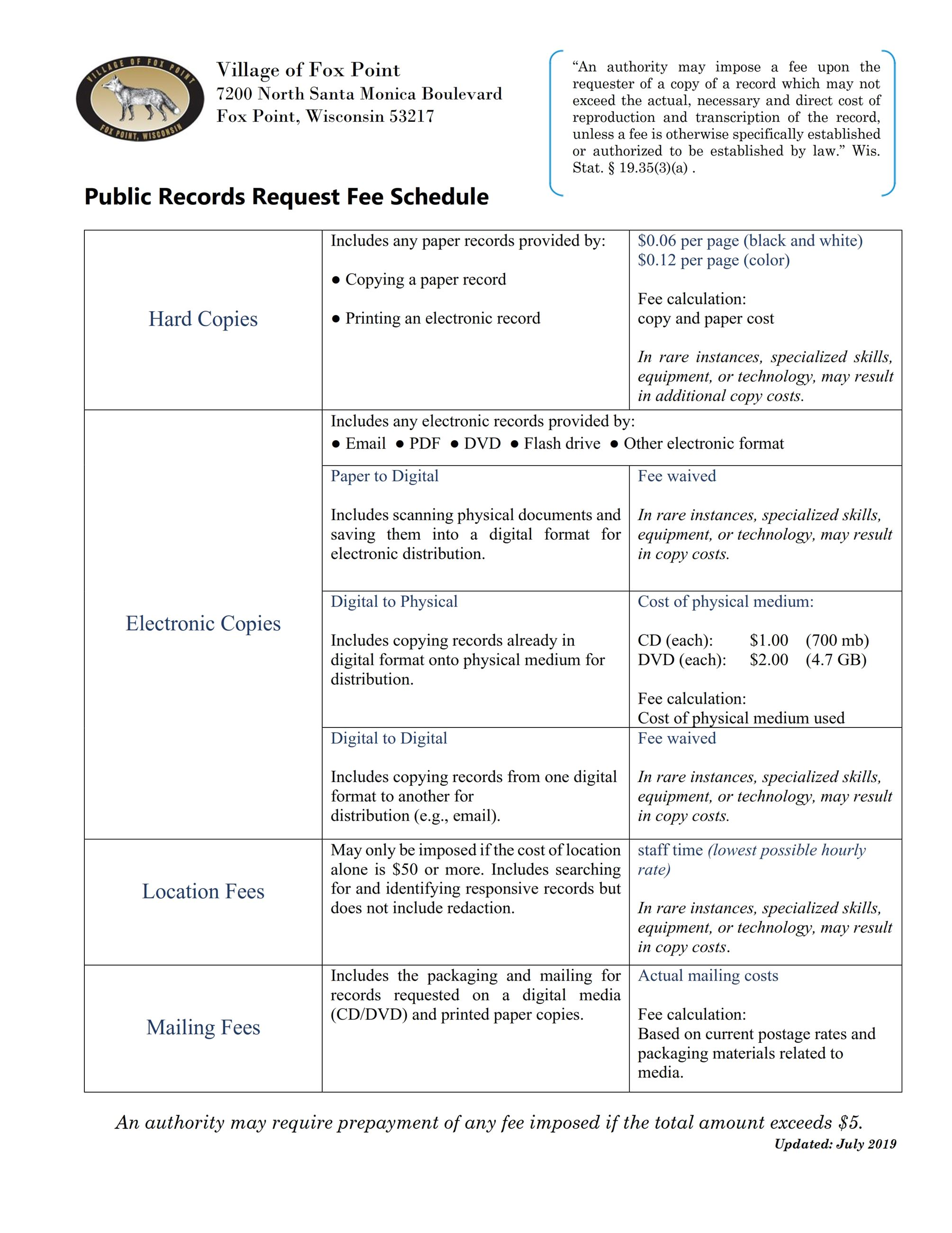 Public Records | Fox Point, WI - Official Website